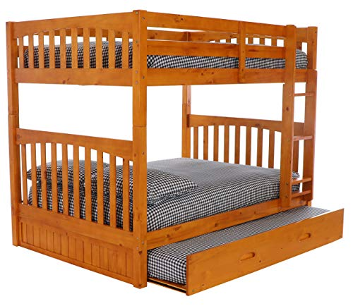 Discovery World Furniture Full Over Full Bunk Bed with Twin Trundle Bed, Honey