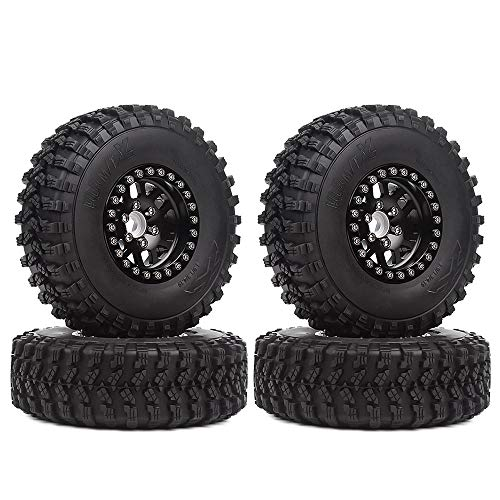 INJORA RC Crawler Reifen Set 1,9inch Reifen mit Beadlock Felgen 4pcs für 1/10 RC Crawler Traxxas TRX-4 Axial SCX10 90046 D90 MST (Schwarz)