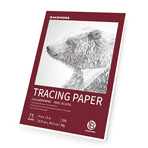 "Bachmore 9""x12"" Artist's Tracing Paper Pad, 75 Sheets – Translucent Tracing Paper for Pencil, Marker and Ink - Trace Images, Sketch, Preliminary Drawing, Overlays 32 LB / 50 GSM"