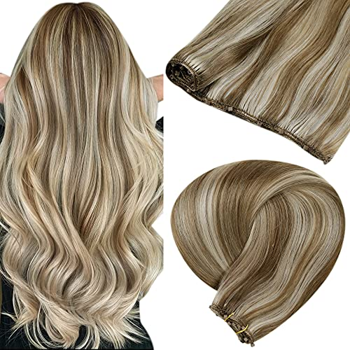 LaaVoo Micro Loop Weft Hair Extensions Highlight Light Brown to PlatinumBlonde Micro Weft Extensions Brown Human Hair...