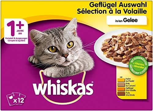 Whiskas Katzenfutter Nassfutter Adult 1+ Geflügelauswahl in Gelee, 12 Portionsbeutel (12 x 100g)