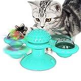 XunHe Molino de viento para mascotas con LED y bola de menta gatera, juguete giratorio, juguete para masticar, juguete interactivo, cepillo para el pelo del gato, masaje giratorio (azul)