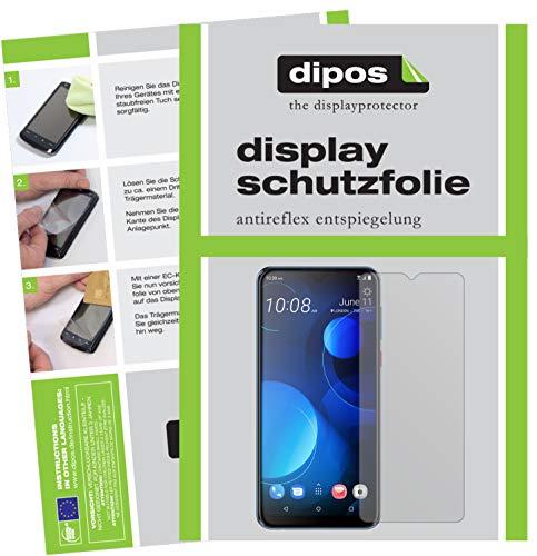 dipos I 2X Schutzfolie matt kompatibel mit HTC Desire 19 Plus Folie Bildschirmschutzfolie (bewusst Kleiner als das Glas, da Dieses gewölbt ist)