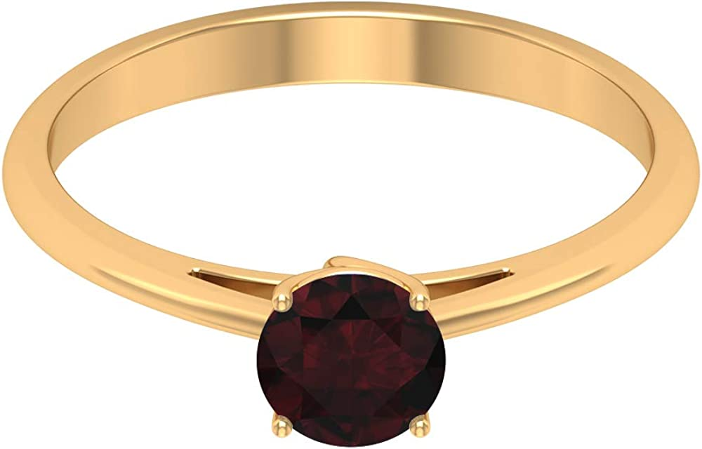 0.75 CT Easy-to-use Garnet Solitaire Ring MM 5.5 Birthstone January Challenge the lowest price R