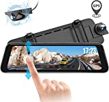 Vantrue M1 Backup Camera, 9.88' 2K 1296P Mirror Dash Cam, Dual 1080P Front and Rear View Dash Cam Touch Screen Car Camera with GPS, Night Vision, 24 Hours Parking Mode, Motion Sensor