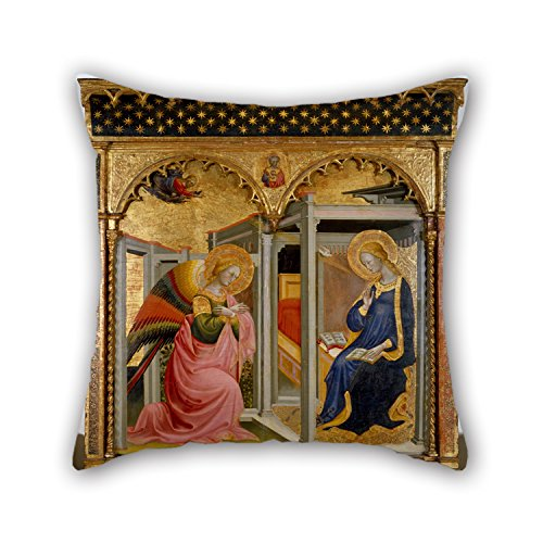 Slimmingpiggy Oil Painting Stefano D'Antonio Di Vanni - The Annunciation Pillow Covers 16 X 16 Inches / 40 By 40 Cm Best Choice For Bedding,him,divan,dinning Room,christmas,club With 2 Sides