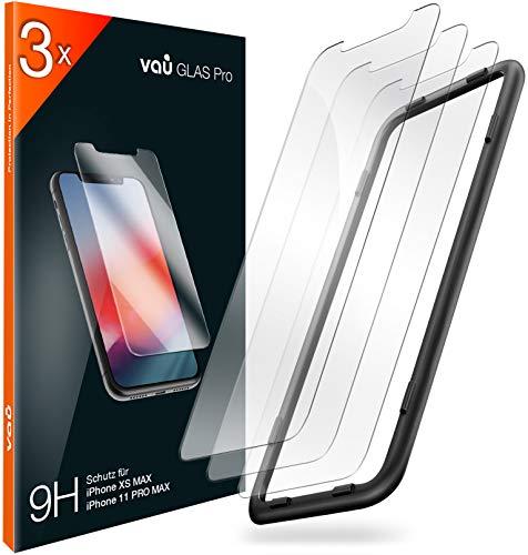 vau Glas kompatibel mit iPhone 11 Pro Max, XS Max (6.5) - Panzerglas Pro Schutzfolie 3 x Folie Vorne + Installationswerkzeug (Bildschirmschutzfolie Front kompatibel mit Apple iPhone XI Pro Max)
