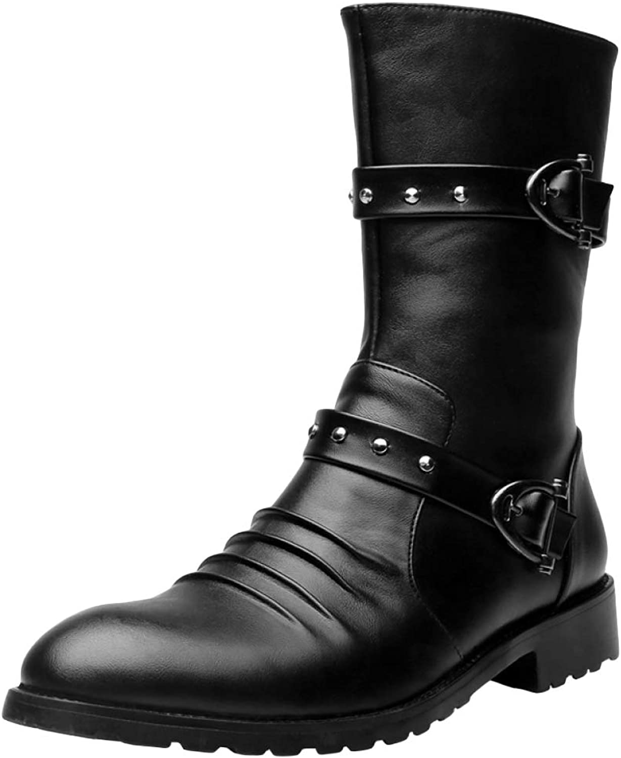 Men's Outdoor Army Military Combat Boots Trekking Hiking Long Tube Boots PU Martin Boot Riding High Tops shoes,Black,40