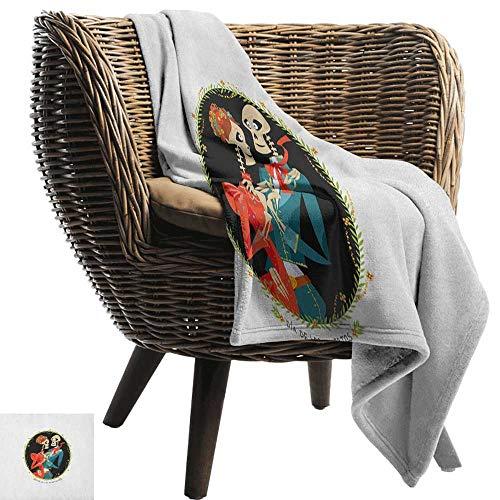 ZSUO babydeken Dag van de Doden, Skeleton Paar in Liefde Ovaal Frame met Groene Bladeren Mexicaanse Traditie Multi kleuren Gezellige en Duurzame Fabric-Machine Wasbaar