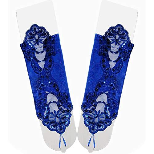 Asudaro Damen Fasching Kostüm Spitzenhandschuhe Satin Brautkleid Handschuhe Stulpen für Hochzeit, Oper, Ball, Fasching, Karneval, Tanzen, Halloween Kostümhandschuhe Brauthandschuhe