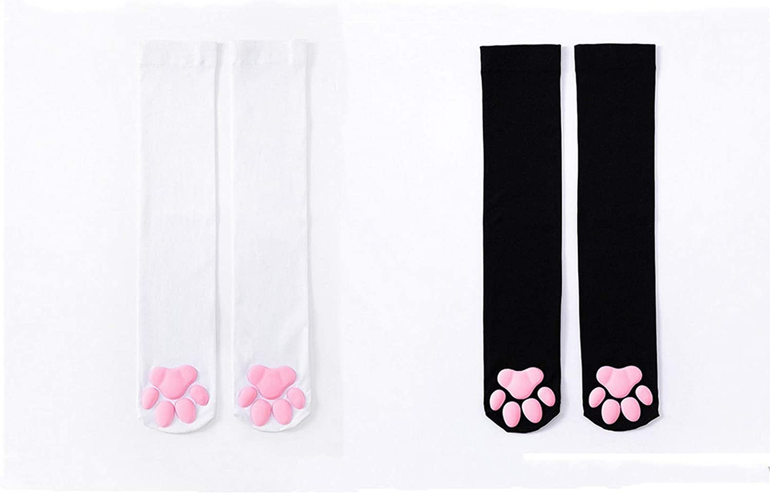 Pink Cat Paw Pad Socks Thigh High, with Toe Beans Plus Size Thicker Fabric