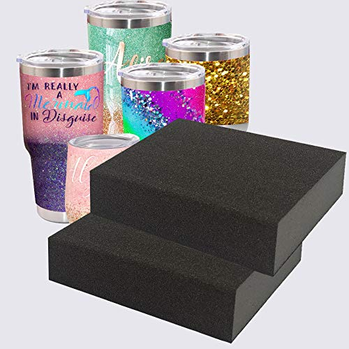 2 Pcs Flexible Epoxy Sanding Blocks for Crafts Tumbler, USLINSKY 4 Sided Epoxy Grinding Blocks Apply to Remove Smudges and Bumps, Superfine Epoxy Refinishing Papers for Making Glitter Tumbler Cups