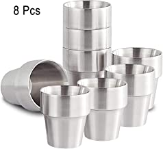Xcellent Global 300ml Set of 8 Stainless Steel Double Wall Cups - Perfect for Cold Drinks - Dishwasher Safe HG298