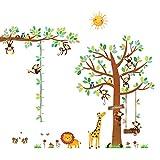 DECOWALL DA-1401P1402 8 Affen Groß Baum Zweig Höhentabelle Waldtiere Tiere Wandtattoo Wandsticker Wandaufkleber Wanddeko für Wohnzimmer Schlafzimmer Kinderzimmer(DEB)