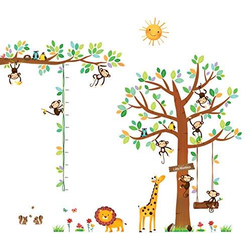 DECOWALL DA-1401P1402 Árbol de 8 Monitos y Gráfica de Altura Vinilo Pegatinas Decorativas Adhesiva Pared Dormitorio Saln Guardera Habitaci Infantiles Nios Bebs