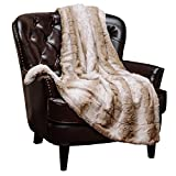 Chanasya Fuzzy Faux Fur Elegant Throw Blanket - Stem Pattern with Plush Sherpa Brown Microfiber Blanket for Bed Couch and Living Room (50x65 Inches) Brown and White US