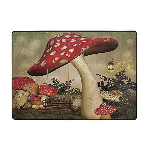 Kitchen Room Floor Mat Rug Colorful Mushroom Swing Hanging from Mushroom Wild Grass and Plants Dreamlike Atmosp 80' x 58' Modern Area Rug with Non-Skid