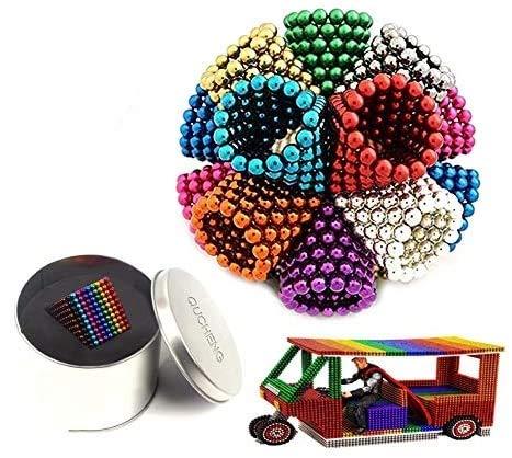 QUCHENG Partículas pequeñas de 3 mm Oficina de la Escuela Pizarra magnética Clavos, Rompecabezas Juvenil Escritorio 3D Juego de descompresión magnética partículas (10 Colores 1000 Piezas)