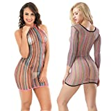 LOVELYBOBO 2 Pack Lingerie Dessous Frauen Mesh Sexy Hollow Out Negligee Babydoll Wäsche Netzs Flexibel Free Size Mini Silm Kleid