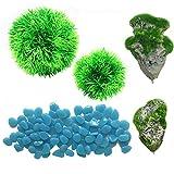 N|A Cayway Plantas Artificiales Acuario, 2 Pz Ornamento Acuario Flotante de Roca Resina 2 Pz Bolas de Hierba, 1 Paquete Azul Piedras Luminosas para Decoración de Acuario