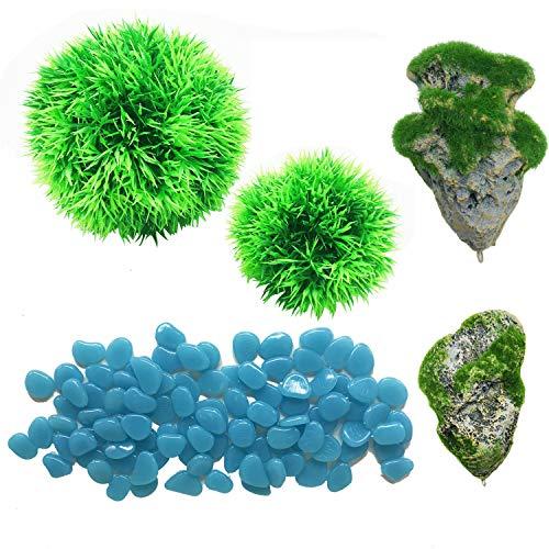 Cayway 5 Stück Aquarium Künstliche Dekoration, 2 Stück Schwimmende Felsen des Aquariums 2 Stück Ruffy Moss Ball und Blau Leuchtsteine, Bunt Leuchtsteine für AquariumBehälter Dekoratio