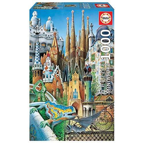 Educa Serie Miniature. Collage Gaudi Adulti. Il Puzzle da 1000 Pezzi più Piccolo del Mondo. RIF. 11874, Colore Vario