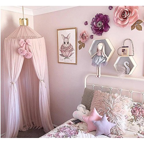 AOYAR Children Bed Canopy Round Dome Mesh Gauze Kids Bed Mosquito Net Decorative Baby Play Tent Crib Curtain,Pink