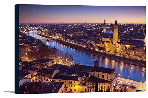 Verona, Italy - Nighttime View of Cathedral & Adige River 9025167 (24x16 Gallery Wrapped Stretched Canvas)