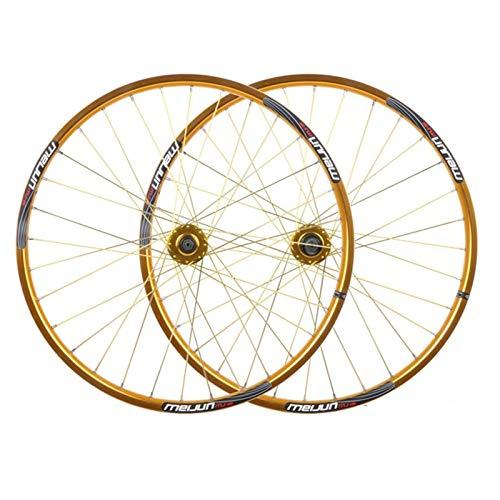 TYXTYX Juego de Ruedas de Bicicleta de montaña 26 MTB Bicicleta Delantera y Trasera de Doble Pared Llantas de aleación Casete de Freno de Disco Fiywheel Hub QR 7/8/9/10 Velocidad 32H (Color: A)