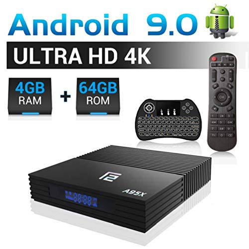【2020 Ultima versione】 Android TV Box 4K A95X F2,【4G+64G】 USB 3.0 Amlogic S905X2 Quad Core 64 bit CPU G31 GPU Android 9.0 Smart TV HD/H.265 / 4K / 3D / BT4.2