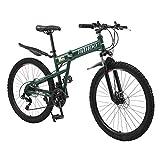 26 Inch Full Suspension Mountain Bike 21 Speed Folding Bike Non-Slip...