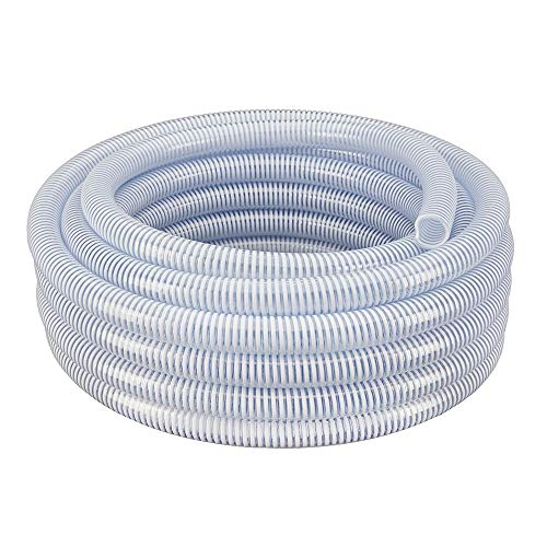 "1"" Dia. x 50 ft HydroMaxx Clear Flexible PVC Suction and Discharge Hose with White Reinforced Helix"