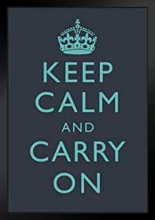 Poster Foundry Keep Calm Carry On Dark Blue Teal Motivational by ProFrames 14x20 inches Black 201056