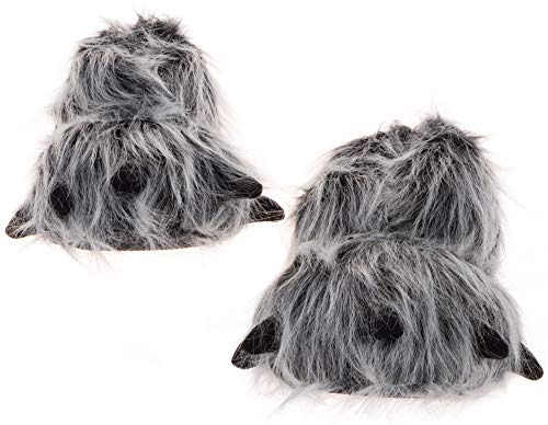 Silver Lilly Womens Bear Paw Animal Slippers (Gray, Small)