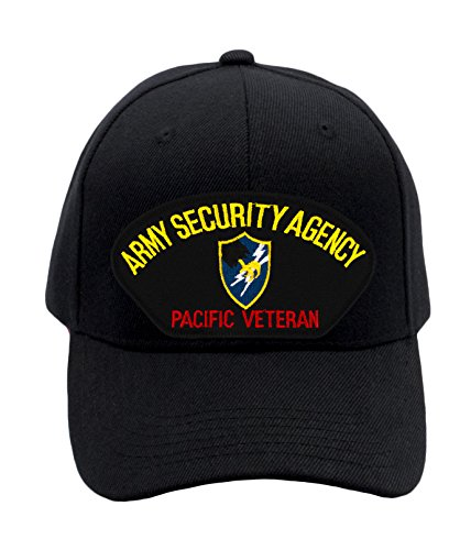 PATCHTOWN US Army Security Agency - Pacific Veteran Hat/Ballcap Adjustable One Size Fits Most (Black, Standard (No Flag))