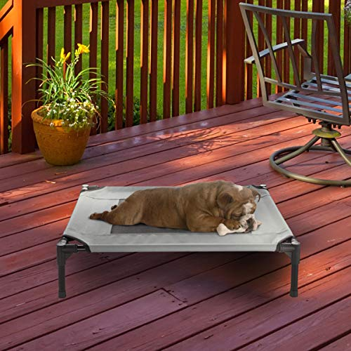 Elevated Dog Bed – 30x24 Portable Bed for Pets with Non-Slip Feet – Indoor/Outdoor Dog Cot or Puppy Bed for Pets up to 50lbs by Petmaker (Gray)