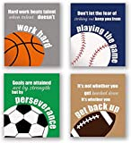 4 Set- Colorful Sport Inspirational Quote Art Print, Basketball Football Baseball Soccer Sport Themed Canvas Wall Art Printing For Boys Bedroom Decoration (Unframed,8'X10')
