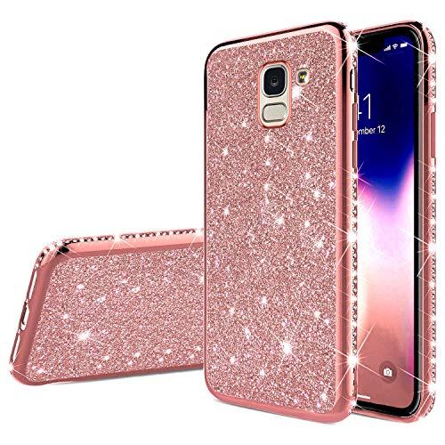 QPOLLY Coque Compatible avec Samsung Galaxy J6 2018, Bling Glitter Paillettes Brillante Diamant Housse Etui de Protection Ultra Mince Souple TPU Silicone Gel Bumper Antichoc Coque,Or Rose