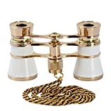 Opera Glasses Binoculars 3X25 Theater Glasses Mini Binocular Compact Lightweight with Handle for Adults Kids Women in Musical Concert (White with Chain)