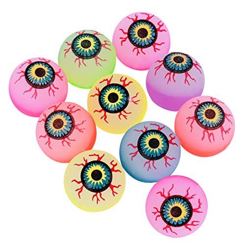 Toyvian Augen Hüpfbälle Blinkende Augäfel Fluoreszierende Kinder Spielzeug 10 Stücke 32mm (Zufällige Farbe)