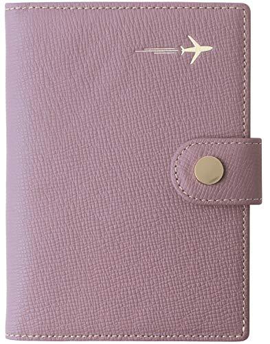 Genuine Leather Passport Holder Cover Case Rfid Blocking Travel Wallet Id Card Case Cross Light Purple