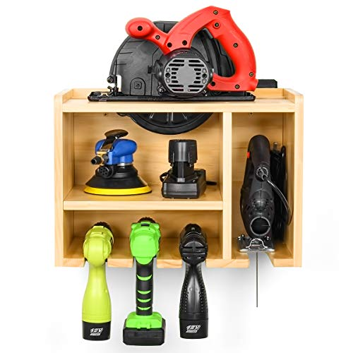 Power Tool Organizer, Drill Charging Station, Circular Saws Jig Saw Drill Impact Driver Wall Storage Holder (Need Assemble)