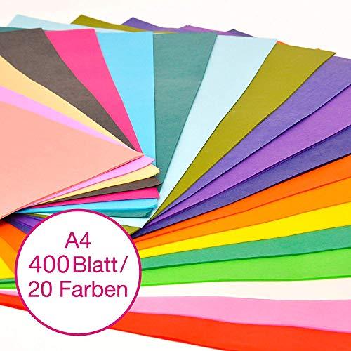 VGOODALL Seidenpapier, 400 Blatt A4, Bunt 20 Farben, 16 g/qm Bastelpapier zum Kreieren von Pompoms, Papierblumen für Hochzeit, Geburstag, Weinachtensgechenk, DIY Deko