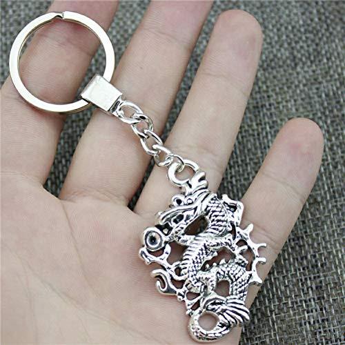 N/ Een Mode Mannen Sieraden Sleutelhanger Diy Metalen Houder Ketting Draak 50X35Mm Zilver Kleur Hanger Gift