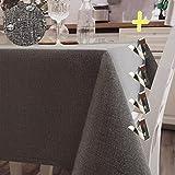 Iycnkok Mantel Antimanchas Manteles Mesa Cuadrado Tela Impermeable 140x140cm Lavable, 4 Pinzas para Table Cloth Incluidas, Elegantes Ideal para Exterior Cocina Jardin Navidad Terrazas Fiesta
