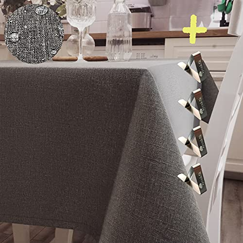 Iycnkok Mantel Antimanchas Rectangular Manteles Mesa Impermeable Tela 140x180 cm Lavable Efecto Lino Gris, 4 Pinzas Incluidas, Table Cloth Elegante para Comedor Exterior Cocina Jardin Navidad Fiesta