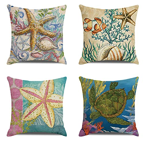 JOVEGSRVA Juego de 4 fundas de almohada decorativas con diseño de estrella de mar de graffiti, 45 cm x 45 cm, para sala de estar, sofá cama, fundas de almohada