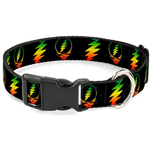 Buckle-Down Dog Collar Plastic Clip Steal Your Face Lightning Bolt Repeat Black Rasta 15 to 26 Inches 1.0 Inch Wide