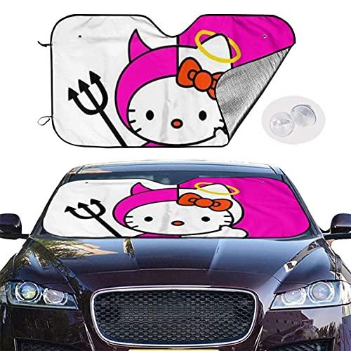 Parasol para parabrisas de coche Hello Kitty Angel and Devil Sun Protector de protección contra rayos UV, mantiene el vehículo fresco