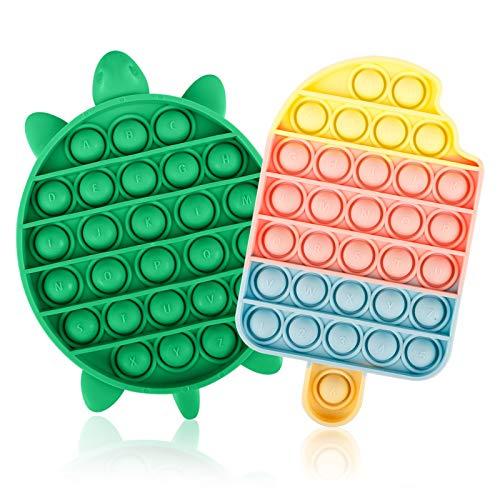 Jasilon [Newest Design [UPGRAED Material] 2PCS Push Bubble Pop Fidget Sensory Toy, Autism Special...